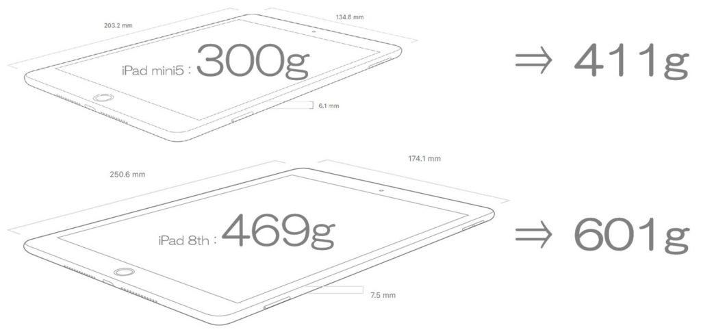 iPad mini5とiPadの重さ比較