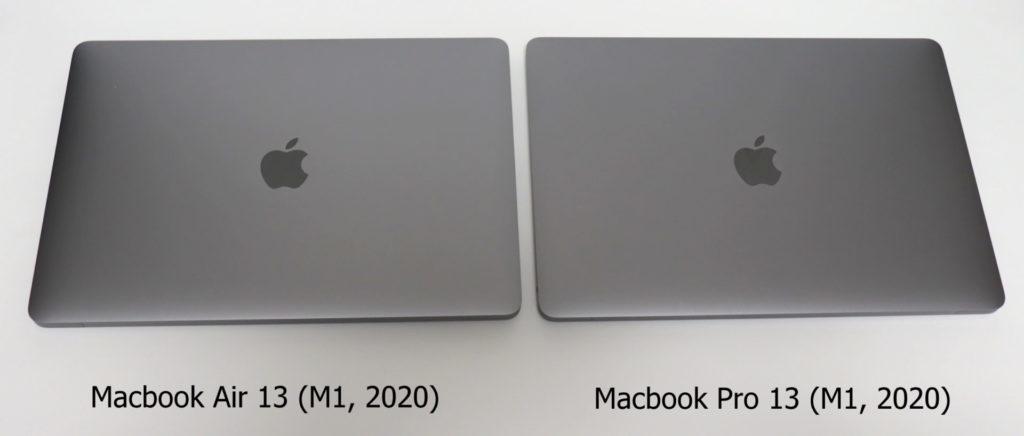Macbook AirとProを上から比較